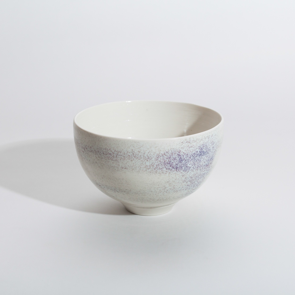 Porcelain bowl with purple speckles